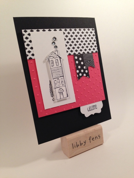 libbystamps, Life's Adventure, Perfectly Polkadot Embossing Folder, Back to Black DSP, Banner Punch, Rhinestone Basic Jewels