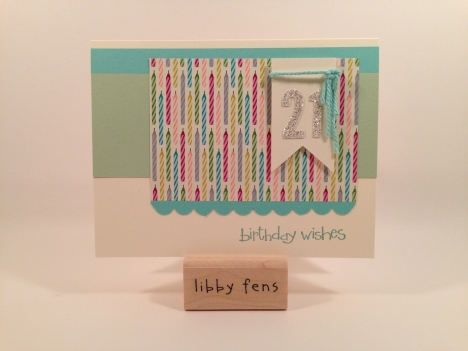 libbystamps, So Happy for You Stamp Set, Scallop Border Punch, Birthday Basics DSP, 21st Birthday Card