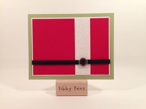 libbystamps, Dazzling Diamonds Glimmer Paper, Ribbon Sliders, 1/4 Basic Black Grosgrain Ribbon, Santa Suit, Christmas Card