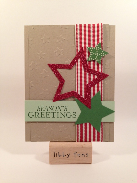 libbystamps, Stars Framelits, Lucky Stars Embossing Folder, Bright & Beautiful Stamp Set, Red Glimmer Paper, Trim the Tree DSP Stack