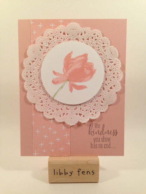 libbystamps, Lotus Blossom, Best year Ever DSP, Tea Lace Paper Doilies