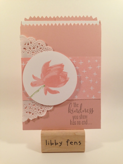 libbystamps, Lotus Blossom, Mini Treat Bag Thinlit, Best year Ever DSP, Tea Lace Paper Doilies