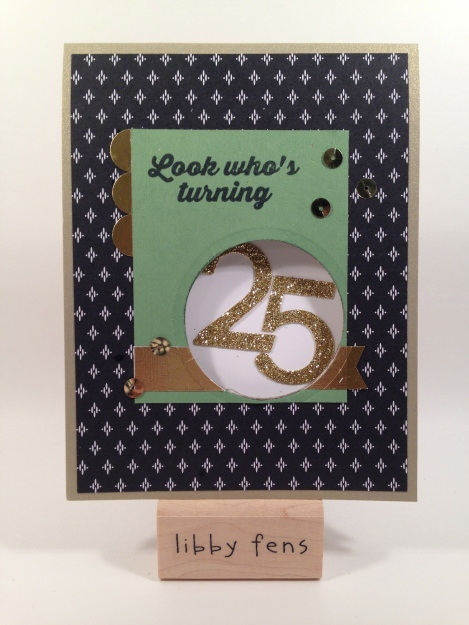 libbystamps, Hooray It's Your Day, Circles Collection Framelits, Stacked With Love DSP, Gold Glimmer Paper, Gold Sequin Trim, Typeset Alphabet