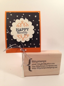 libbystamps, Stampin' Up, Happy Haunting DSP, sucker cover, Halloween treat holder, Wickedly Sweet Paper Pumpkin