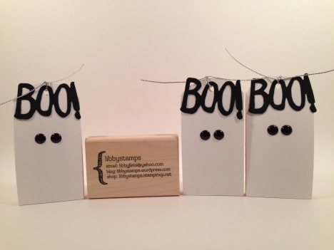 libbystamps, Stampin' Up, Boo to You Framelits, Ornate Tag Topper Punch, White Perfect  Accents, Halloween treats, ghost