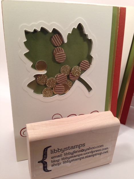 libbystamps, Stampin' Up, shaker card, Leaflets Framelits, Six Sayings, Kraft and White Corrugated Paper