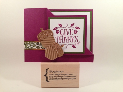 libbystamps, Stampin' Up, Thankful Forest Friends, Acorn Builder Punch, Into the Woods DSP, Gold Foil Sheets, Gold Glimmer Paper, Kraft and White Corrugated Paper, corner flip fold card