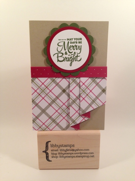 "libbystamps, Stampin Up, curtain fold, Christmas Card, Lots of Joy Stamp Set, Merry Moments DSP Paper Stack, Crumb Cake Note Card Envelopes, 2"" Circle Punch, 2 3/8 Scallop Circle Punch, 1 3/4 Circle Punch,"