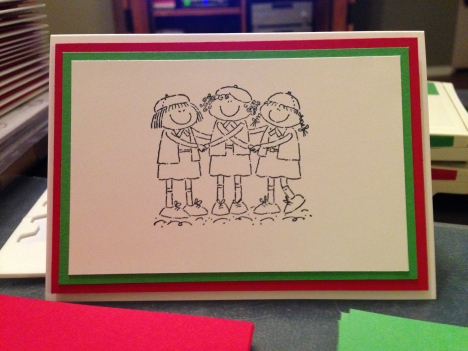 libbystamps, Stampin Up, Girl Power Stamp Set, Girl Scouts,  Christmas Card