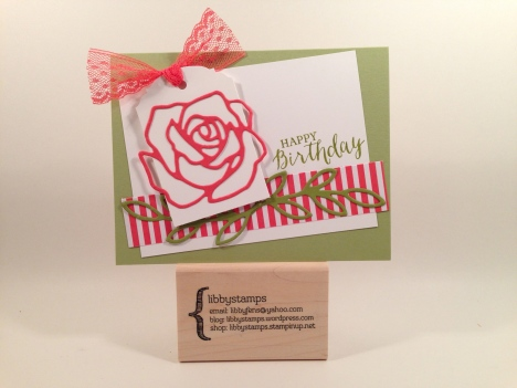 "libbystamps, Stampin Up, Rose Wonder Stamp Set, Rose Garden Thinlits, Big Shot Die Brush, Ornate Tag Topper Punch, Watermelon Wonder 1"" Dotted Lace Trim, 2015-2017 In Color Envelope Paper"