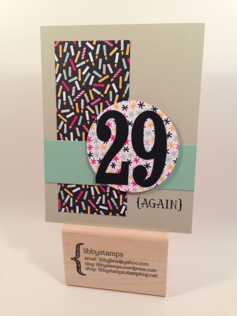 libbystamps, Stampin Up, PSC05, Number of Years, Large Numbers Framelits, It's My Party DSP, 2 1/2 Circle Punch,
