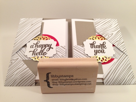 libbystamps, Stampin Up, WWC52, note card holder, Tin of Cards Stamp Set, Metallic Foil Doilies, 2015-2017 In Color Envelope Paper, Decorative Label Punch,