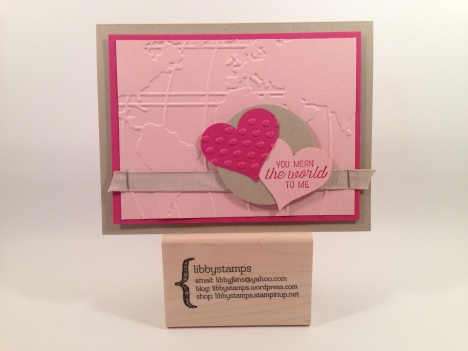 libbystamps, Stampin Up, CCMC392, Going Global Stamp, World Traveler Embossing Folder, Sweetheart Punch,