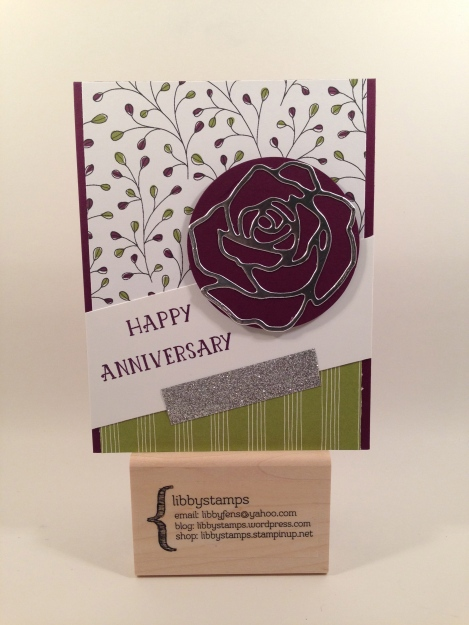 libbystamps, stampin up, Wildflower Fields DSP, Rose Garden Thinlits, Numbers of Years, CCMC397, Anniversary, Sale-a-Bration 2016