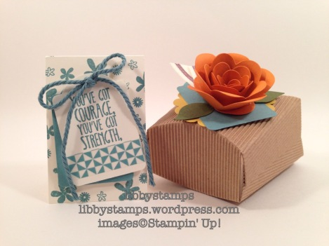 libbystamps, stampin up, Blogging Friends Blog Hop, 2014-2016 In Color, Spiral Flower Die, Fry Box, Bird Builder Punch, Note Tag Punch, Something to Say Stamp Set, Perpetual Birthday Calendar,