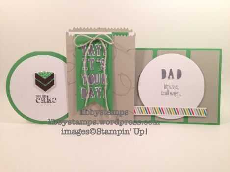 libbystamps, stampin up, Party with Cake, Mini Treat Bag Thinlits, Stapler, Timeless Textures, Circles Framelits, Cherry on Top Designer Washi Tape, Something to Say Stamp Set, round card, Wacky Watercooler Blog Hop, masculine, Father's Day