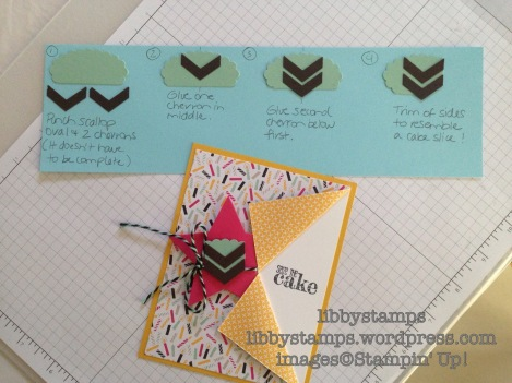libbystamps, Stampin Up, cake slice, Something to Say, It's My Party DSP, Stars Framelits, Chevron Border Punch, Scallop Oval Punch,