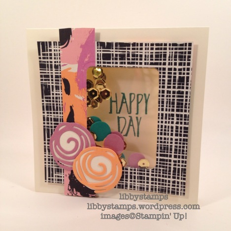 libbystamps, stampin up, Perfectly Wrapped, Swirly Scribbles Thinlits, shaker card, WWC70