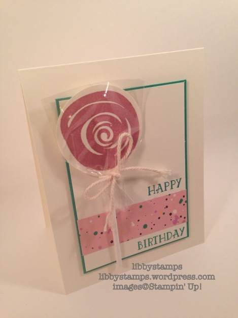 libbystamps, stampin up, Swirly Bird, Number of Years, Playful Palette DSP, lollipop