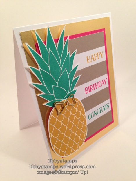 libbystamps, stampin up, Banner Surprise Paper Pumpkin, Pineapple, Simple Saturday, Tin of Cards, Bow Paper Clips,