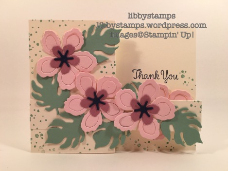 libbystamps, stampin up, Botanical Builder Framelits. Thankful Thoughts, Botanical Blooms, WWC77, z-fold