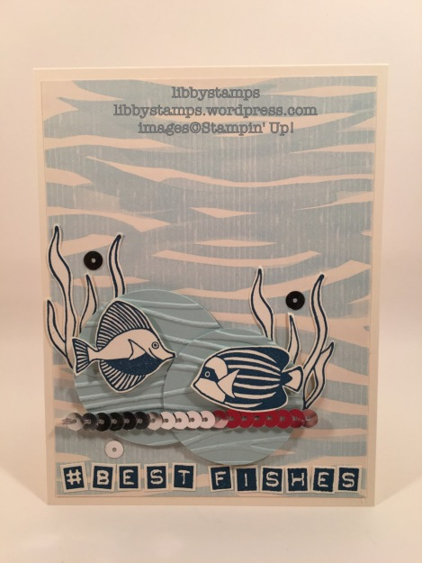 libbystamps, stampin up, CCMC421, Seaside Shore, By the Shore DSP, Labeler, Seaside EF, fishes card