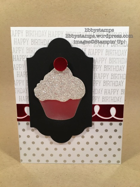 libbystamps, stampin up, Sweet Cupcake, Cupcake Cutouts Framelits, Lots of Labels Framelits, Fabulous Foil Designer Acetate, Silver Foil, Silver Glimmer Paper, Red Foil Sheets