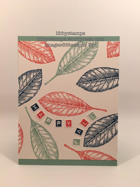 libbystamps, stampin up, Vintage Leaves, Labeler Alphabet, Fine-Tip Glue Pen, Fall Card, NAC179