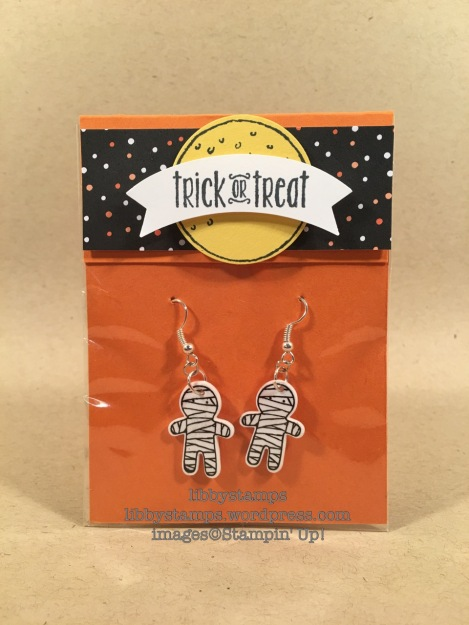 libbystamps, stampin up, Cookie Cutter Halloween, Cookie Cutter Builder Punch, Duet Banner Punch, Halloween Night Specialty DSP, shrinky dink earrings