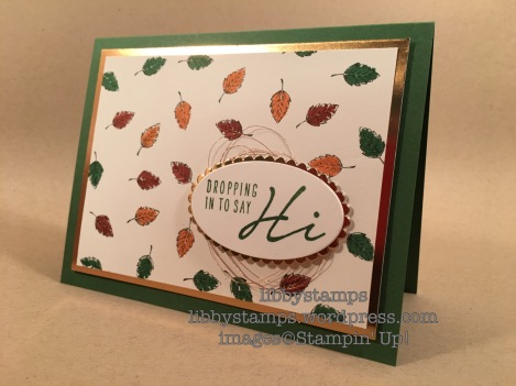 libbystamps, stampin up, Lovely as a Tree, Acorny Thank You, Layering Ovals Framelits, Copper Foil, Copper Metallic Thread, BFBH