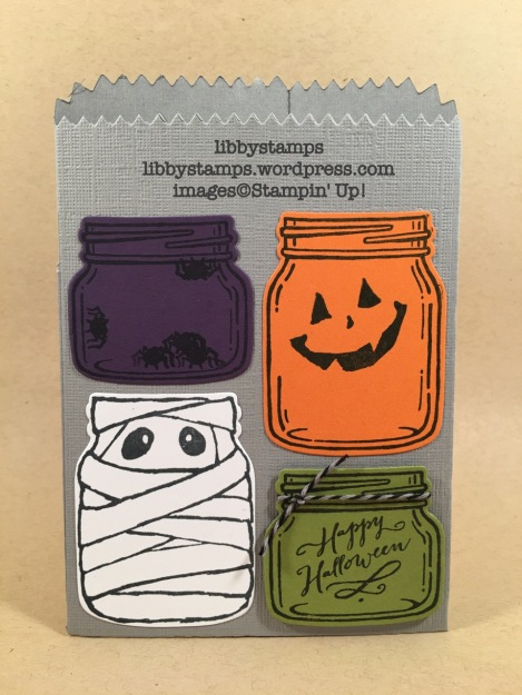 libbystamps, stampin up, Jar of Haunts, Everyday Jars Framelits, Halloween Night Baker's Twine, Mini Treat Bag Thinlits