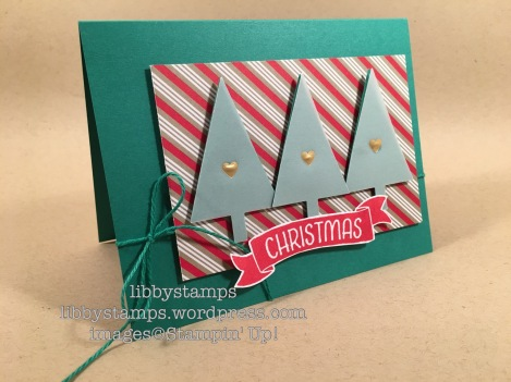 libbystamps, stampin up, Time of Year, Bunch of Banners Framelits, Tree Punch, Candy Cane Lane DSP, Gold Fancy Designer Vellum, TSOT299