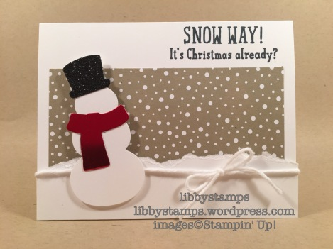 libbystamps, stampin up, Snow Place, Snow Friends Framelits, Candy Cane Lane, WWC97, Christmas, snowman