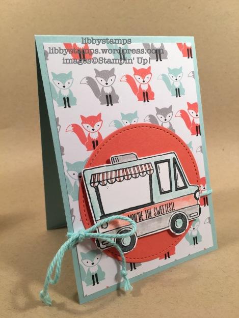 libbystamps, stampin up, Tasty Trucks, Stitched Shapes Framelits, A Little Foxy DSP, Envelope Liners Framelits, We Create, SAB 2017
