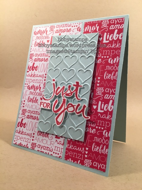 libbystamps, Stampin Up, Watercolor Words, Sending Love DSP Stack, Happy Heart EF, TSOT#305