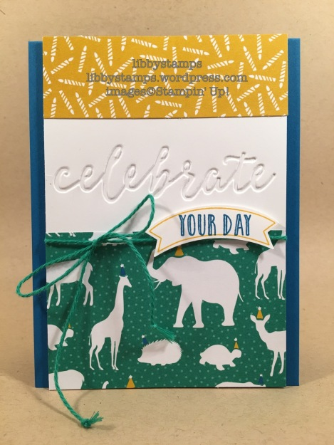 libbystamps, stampin up, CCMC442, Duet Banner Punch, Celebrations Duo EF, Party Animal DSP, Happy Celebrations