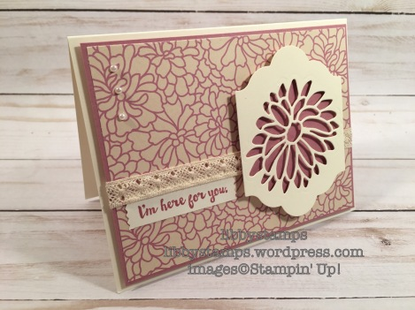 libbystamps, stampin up, Here for You, Stylish Stems Framelits, Lots of Labels, Falling in Love DSP, WWC104