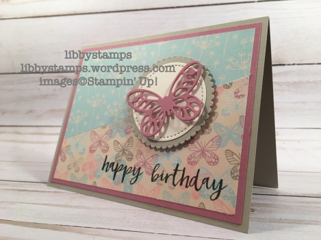 libbystamps, stampin up, Milestone Moments, Bold Butterflies Framelits, Layering Circles Framelits, Stitched Shapes Framelits, Falling in Love DSP, Card Buffet, SGGW