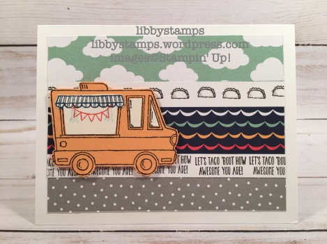libbystamps, stampin up, Carried Away DSP, Tasty Truck, Taco Tuesday