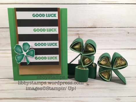libbystamps, stampin up, Custom Tee, Fresh Fruit, Pop of Pink Specialty DSP, Gold Foil Sheets, kisses, shamrock, clover