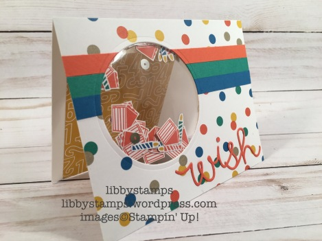 libbystamps, stampin up, Circles Collection Framelits, Cupcake Cutouts Framelits, Party Animal DSP, shaker card