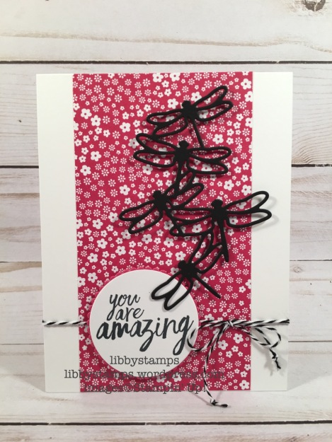 libbystamps, stampin up, All Things Thanks, Detailed Dragonfly Thinlits, Layering Circles Framelits, Brights Designer Paper Series Stack