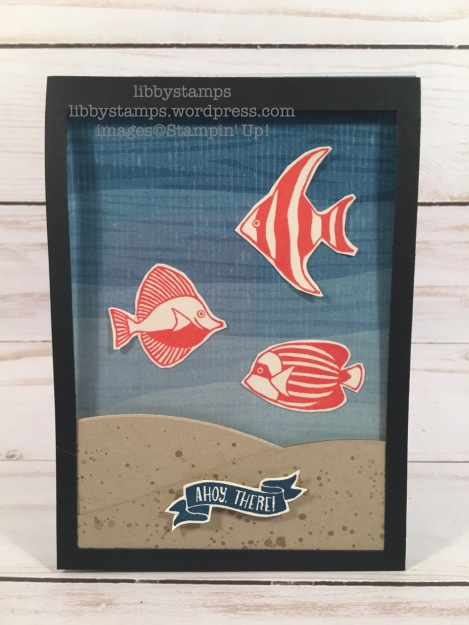 libbystamps, stampin up, Seaside Shore, By the Shore DSP, window card, aquarium
