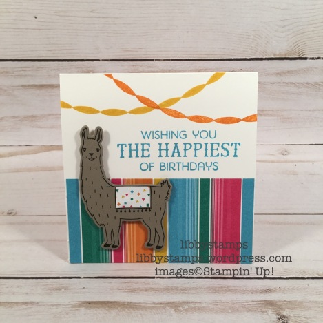 libbystamps, stampin up, Birthday Fiesta Bundle, Birthday Fiesta, Fiesta Time Framelits, Festive Birthday DSP, Llama