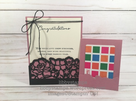 libbystamps, stampin up, Detailed Floral Thinlits, Floral Phrases, Floral Phrases Bundle, wedding, gift card holder, pocket card