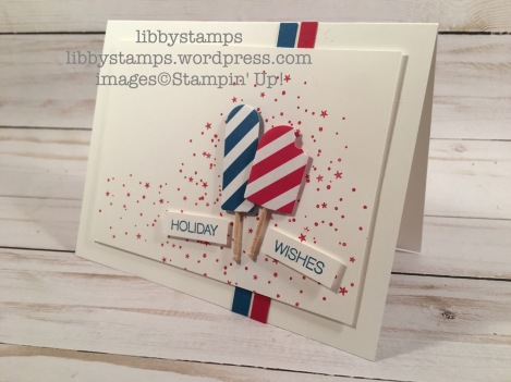 libbystamps, stampin up, Holly Jolly Greetings, Frozen Treats Framelits, Brights Designer Series Paper Stack, CCMC, Memorial Day, Labor Day, 4th of July, patriotic
