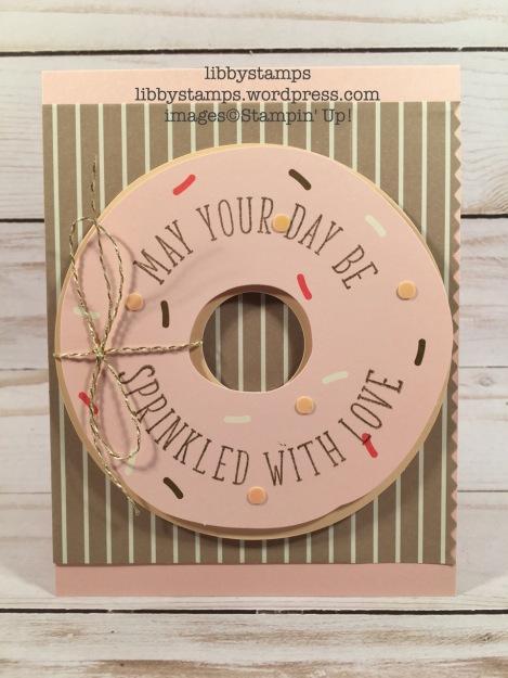 libbystamps, stampin up, Sprinkled with Love paper Pumpkin, Powder Pink, National Donut Day
