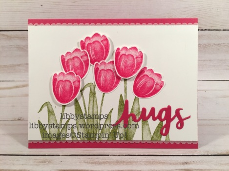 libbystamps, stampin up, Tranquil Tulips, Lovely Words Thinlits, Decorative Ribbon Border Punch, CCMC