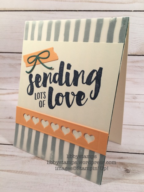 libbystamps, stampin up, Brushstrokes, Lots of Love, Mini Treat Bag Thinlits, CCMC