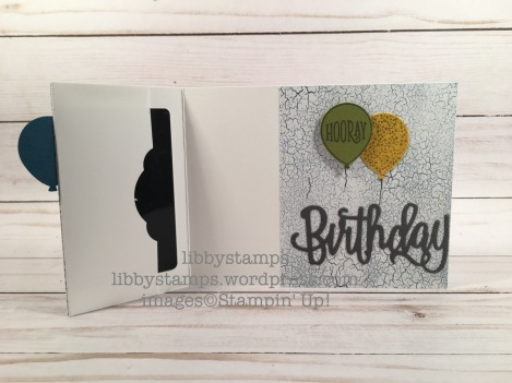 libbystamps, stampin up, Happy Birthday Thinlits, Happy Birthday Gorgeous, Happy Birthday, Balloon Builder Punch, Color Theory DSP, Pretty Label  Punch, WWC, gift card holder